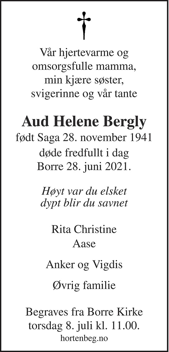 Aud Helene Bergly Dødsannonse