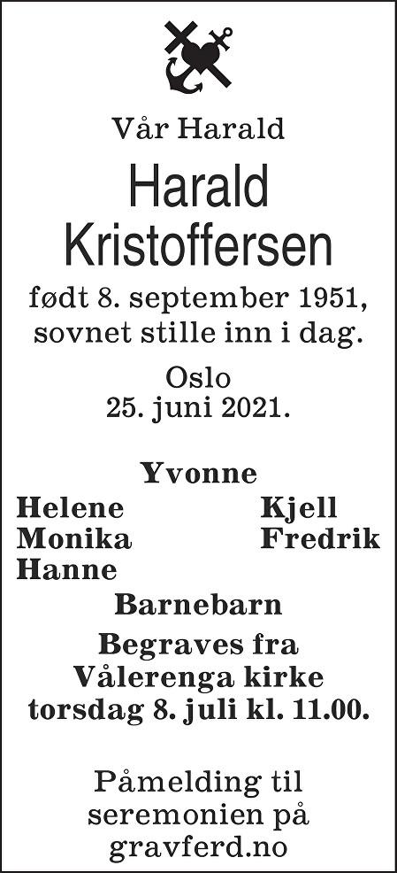 Harald Kristoffersen Dødsannonse