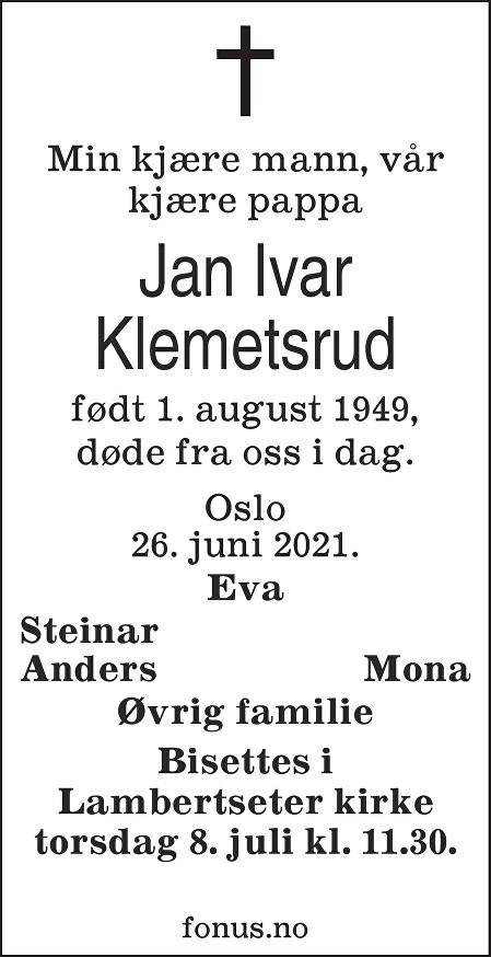 Jan Ivar Klemetsrud Dødsannonse