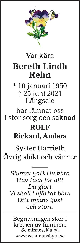 Bereth Lindh Rehn Death notice