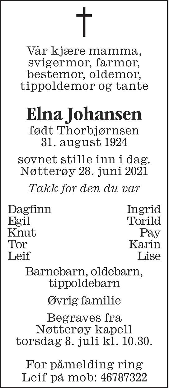 Elna Johansen Dødsannonse
