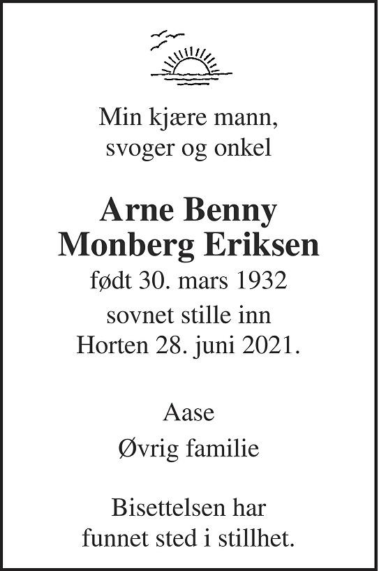 Arne Benny Monberg Eriksen Dødsannonse