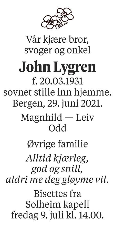 John Lygren Dødsannonse