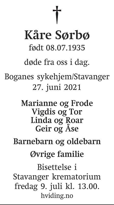 Kåre Sørbø Dødsannonse