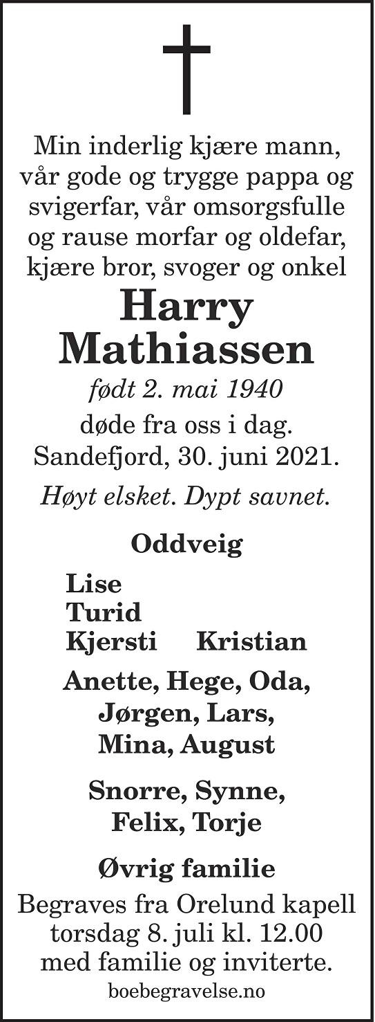 Harry Mathiassen Dødsannonse