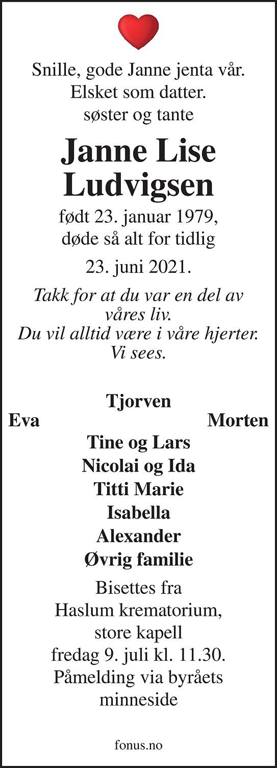 Janne Lise Ludvigsen Dødsannonse