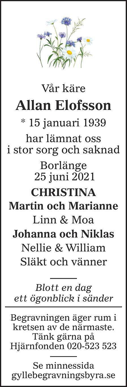 Allan Elofsson Death notice