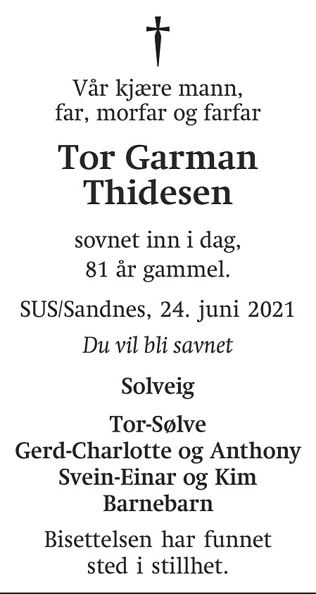 Tor Garman Thidesen Dødsannonse