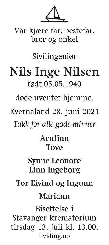 Nils Inge Nilsen Dødsannonse