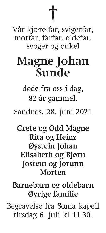 Magne Johan Sunde Dødsannonse