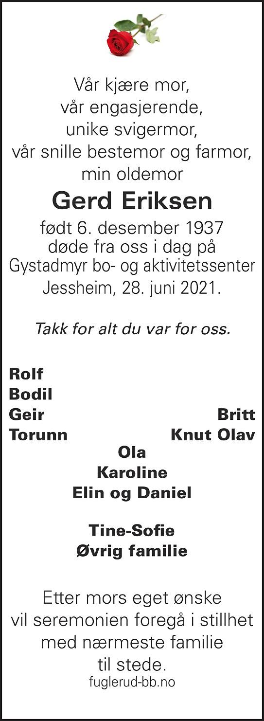 Gerd Eriksen Dødsannonse