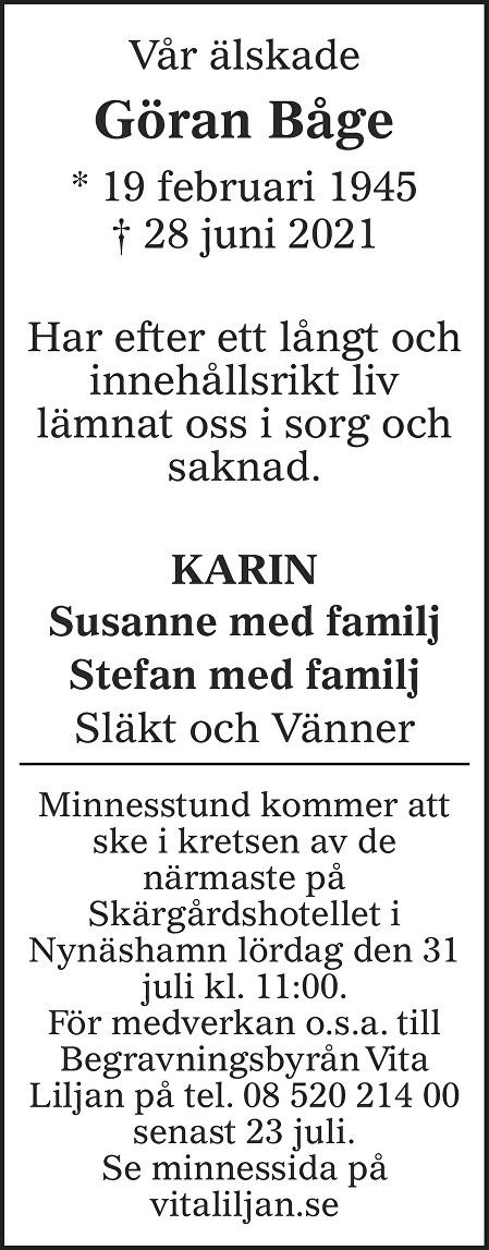 Göran Båge Death notice