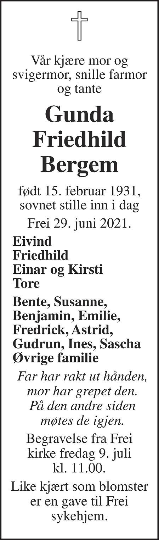 Gunda Friedhild Bergem Dødsannonse