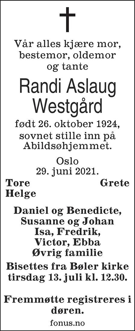 Randi Aslaug Westgård Dødsannonse