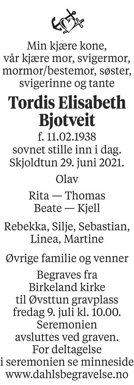 Tordis Elisabeth Bjotveit Dødsannonse
