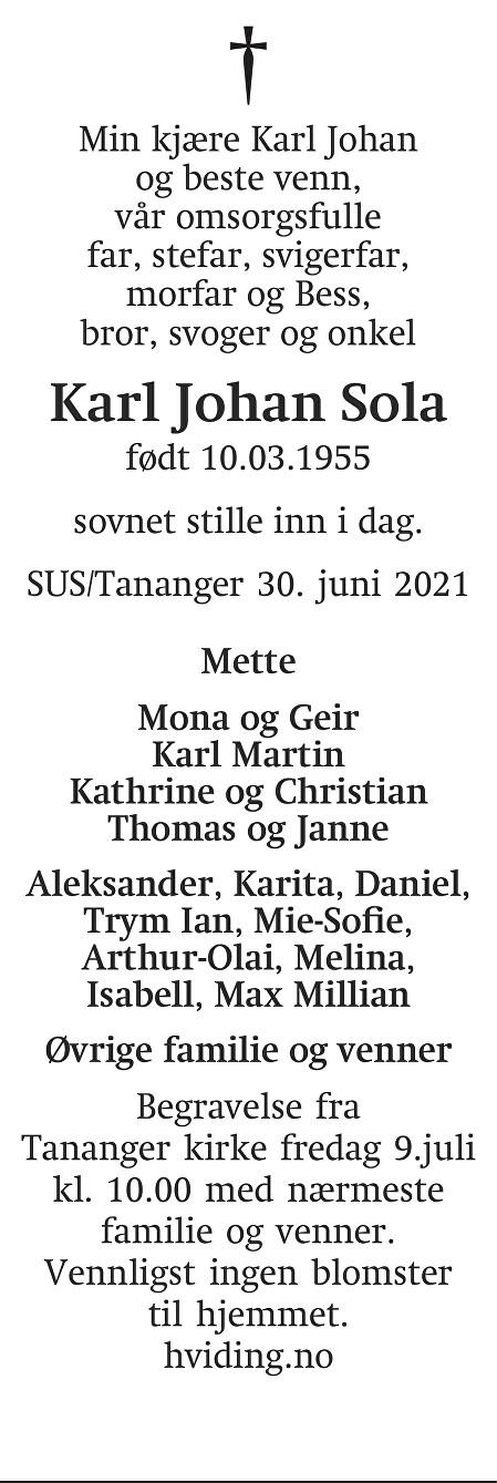 Karl Johan Sola Dødsannonse