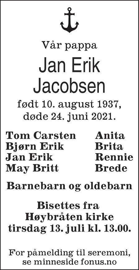 Jan Erik Jacobsen Dødsannonse