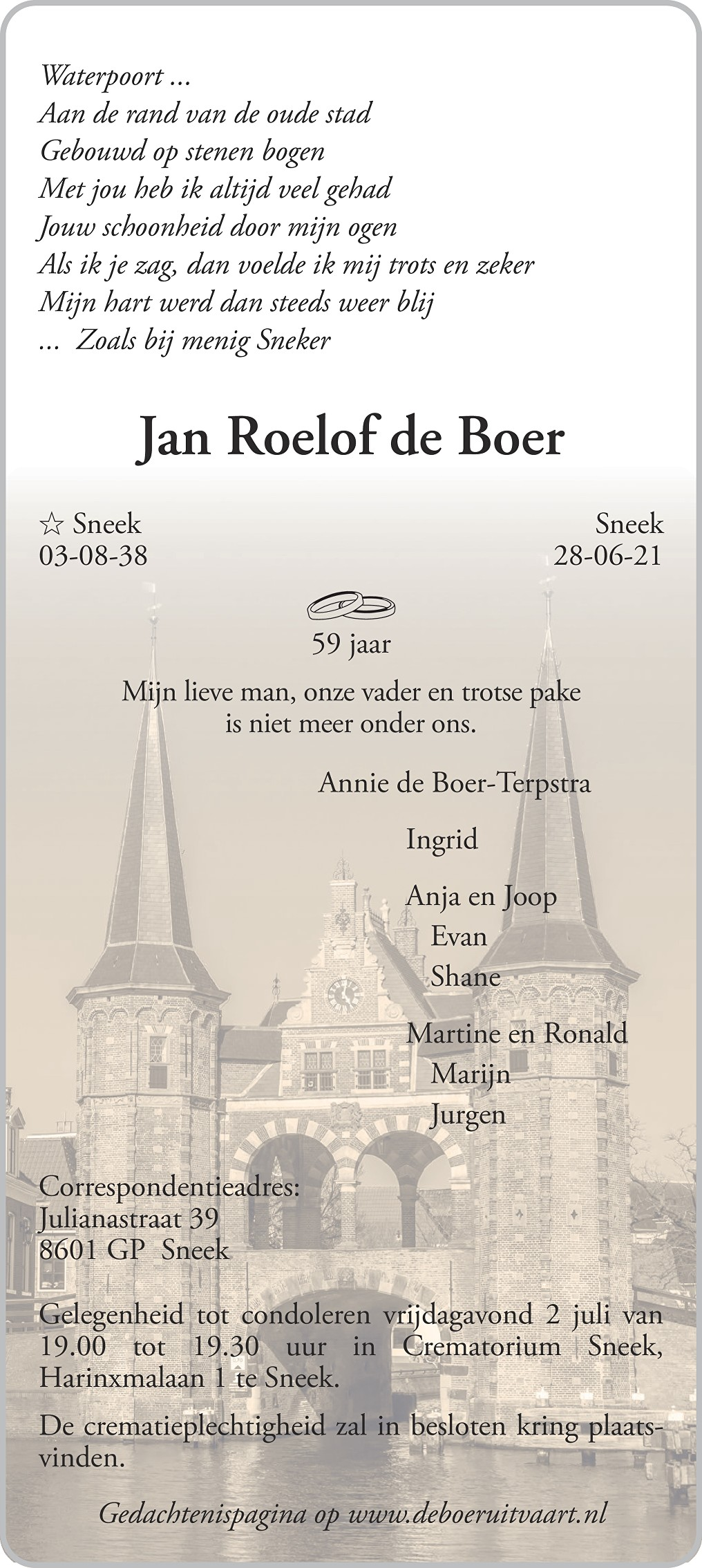 Jan Roelof de Boer Death notice
