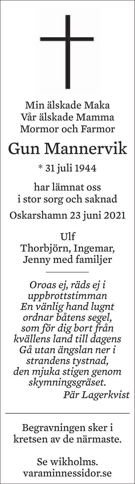Gun Mannervik Death notice