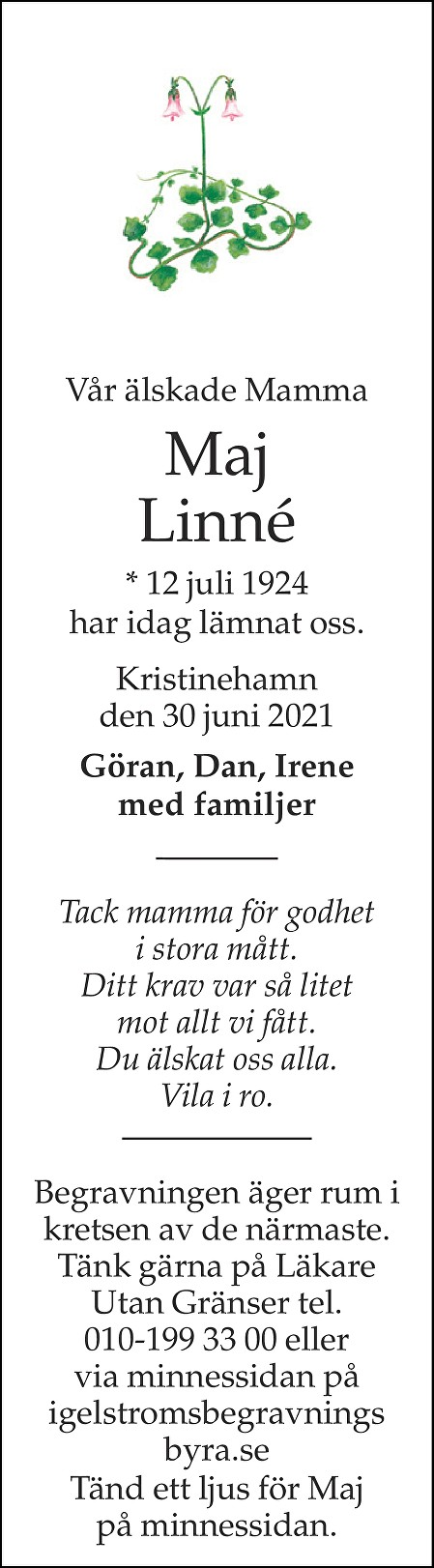Maj Linné Death notice