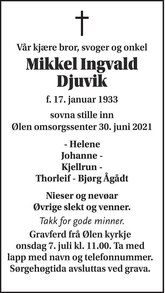 Mikkel Ingvald Djuvik Dødsannonse