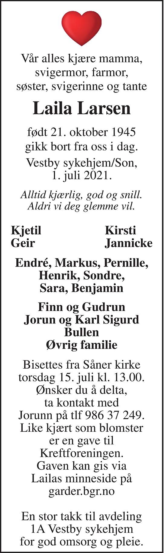 Laila Larsen Dødsannonse