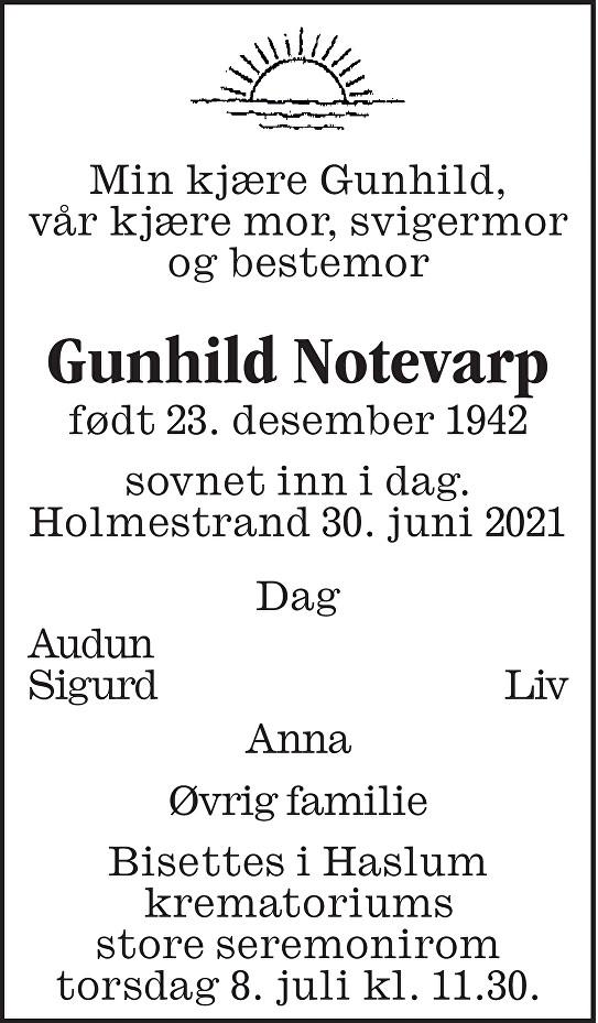 Gunhild Notevarp Dødsannonse