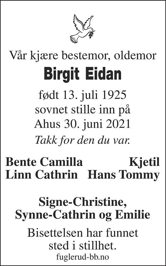 Birgit Eidan Dødsannonse