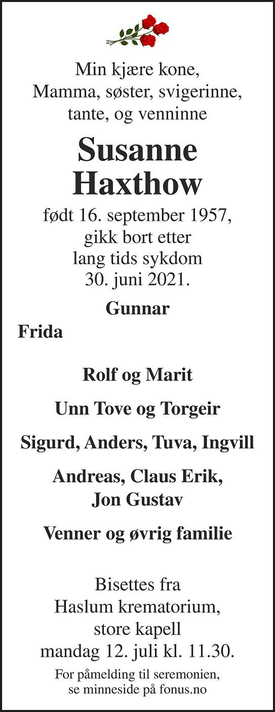 Susanne Haxthow Dødsannonse