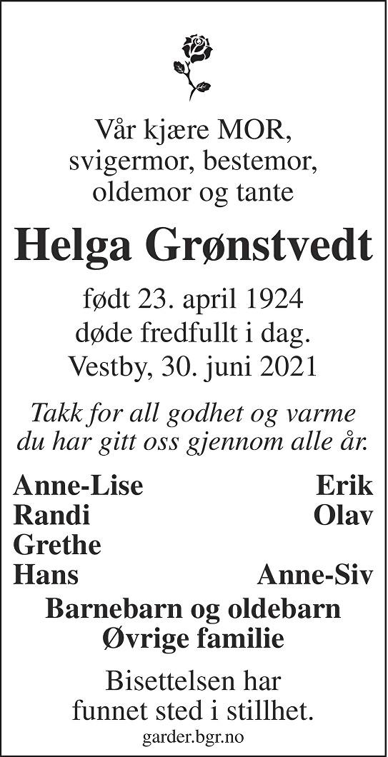 Helga Marie Grønstvedt Dødsannonse