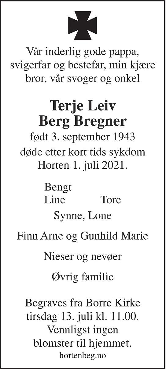 Terje Leiv Berg Bregner Dødsannonse