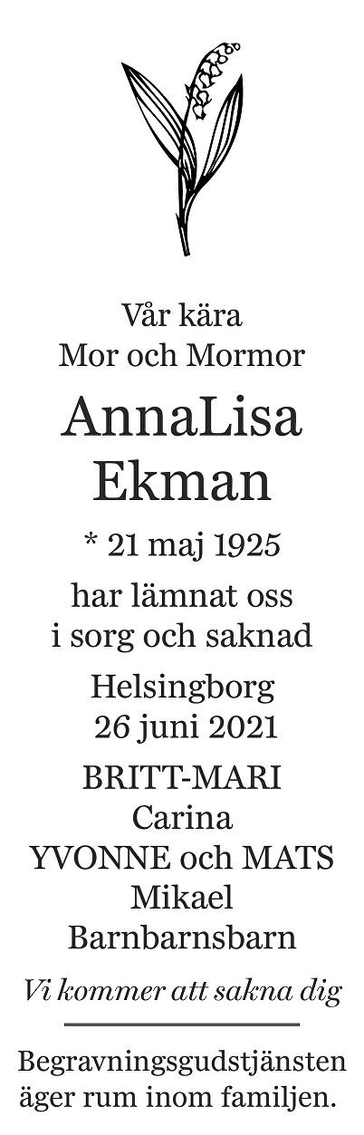 Anna Lisa Ekman Death notice