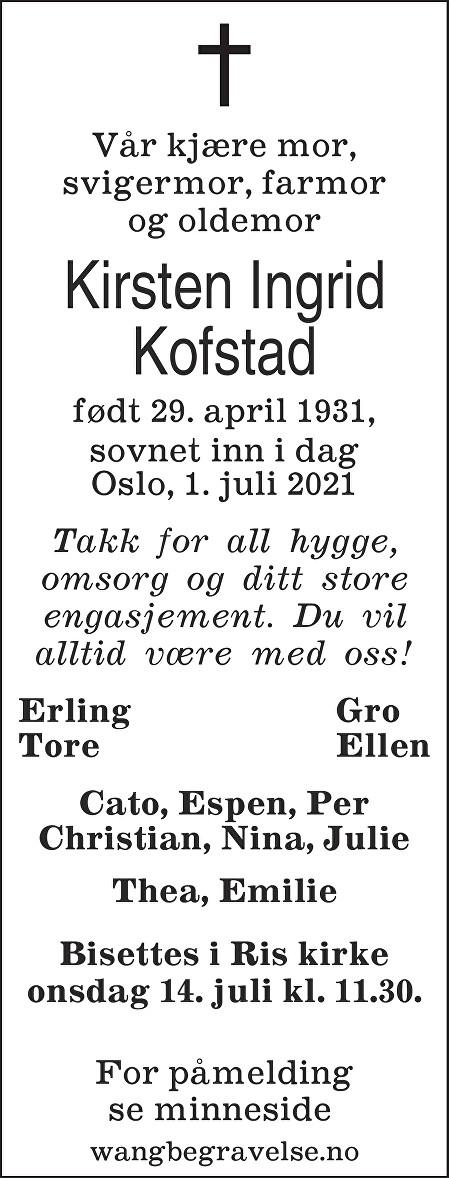 Kirsten Ingrid Kofstad Dødsannonse