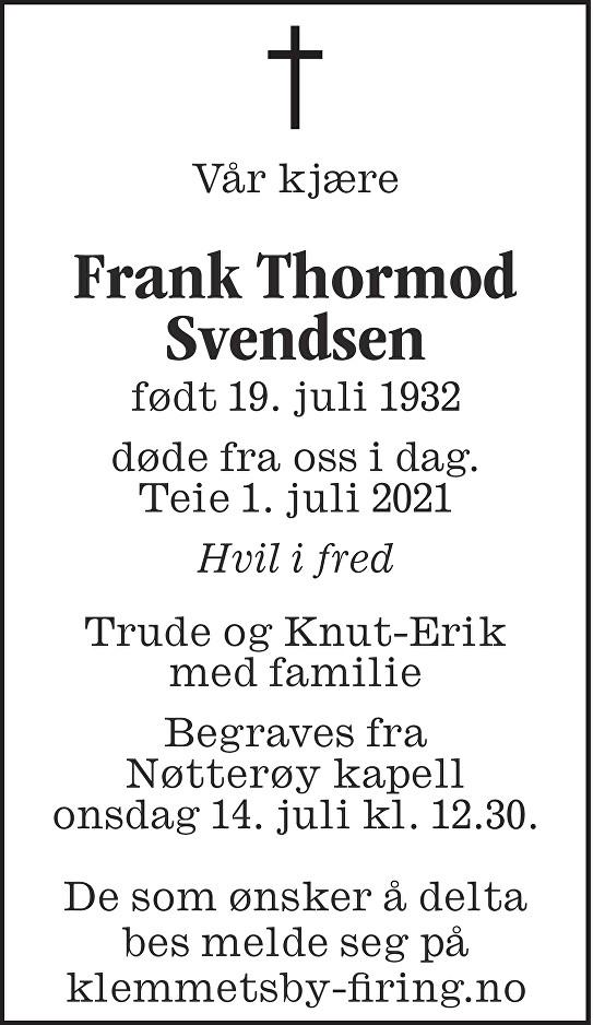 Frank Thormod Svendsen Dødsannonse