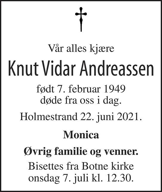 Knut Vidar Andreassen Dødsannonse