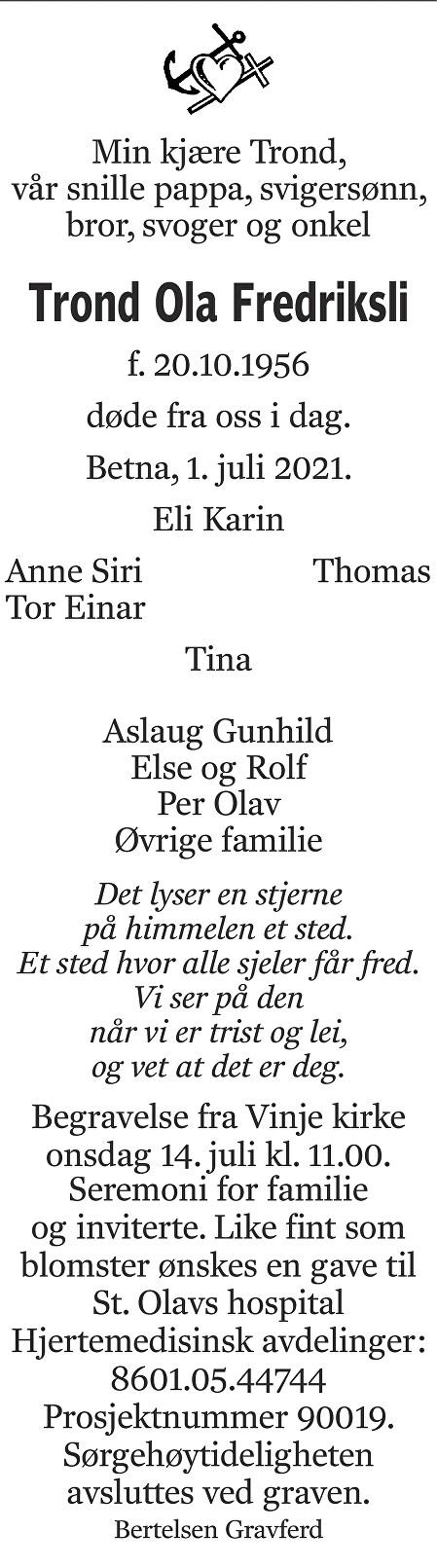 Trond Ola Fredriksli Dødsannonse