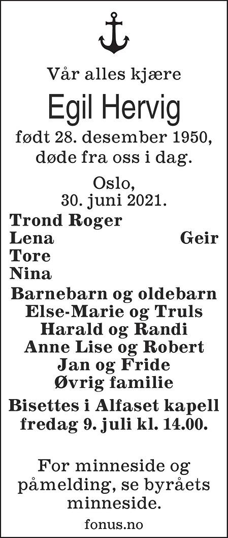 Egil Hervig Dødsannonse