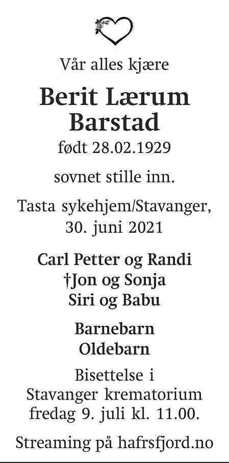 Berit Lærum Barstad Dødsannonse