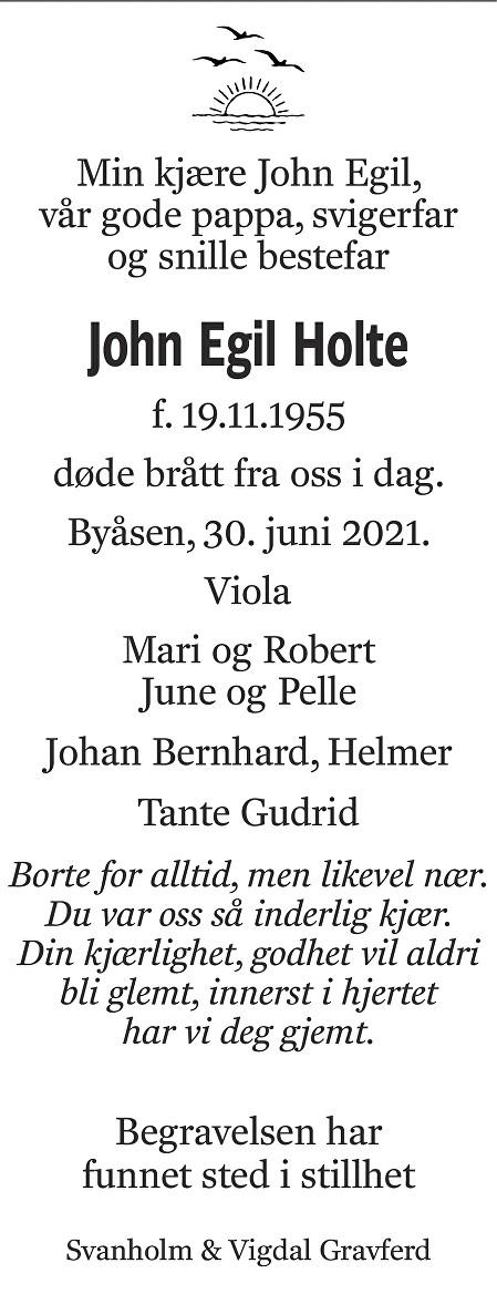 John Egil Holte Dødsannonse
