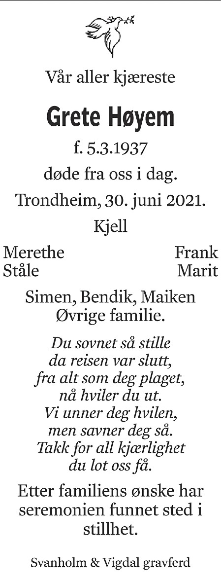 Grete Høyem Dødsannonse