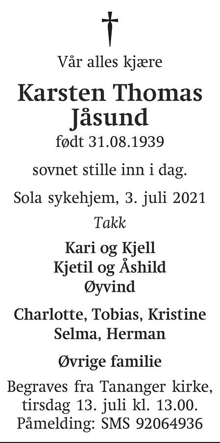 Karsten Jåsund Dødsannonse