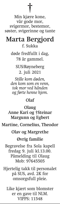 Marta Bergjord Dødsannonse