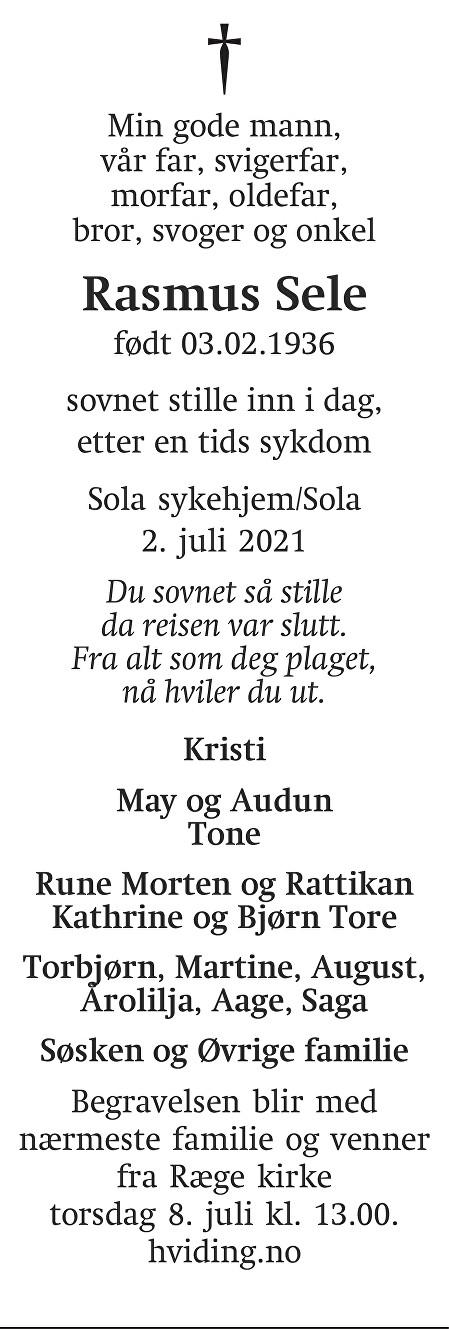 Rasmus Sele Dødsannonse