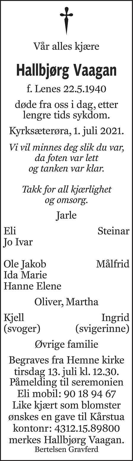 Hallbjørg Vaagan Dødsannonse