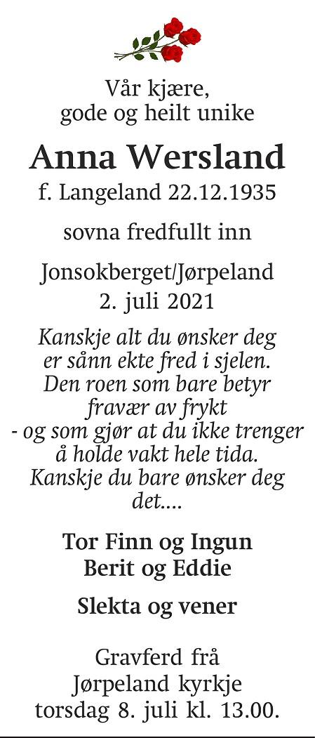 Anna Wersland Dødsannonse