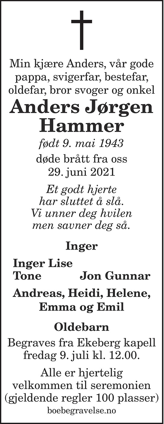 Anders Jørgen Hammer Dødsannonse