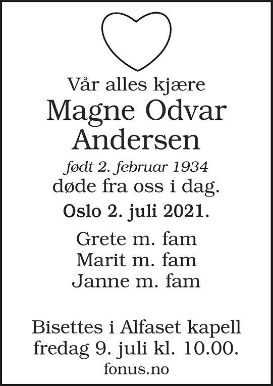 Magne Odvar Andersen Dødsannonse