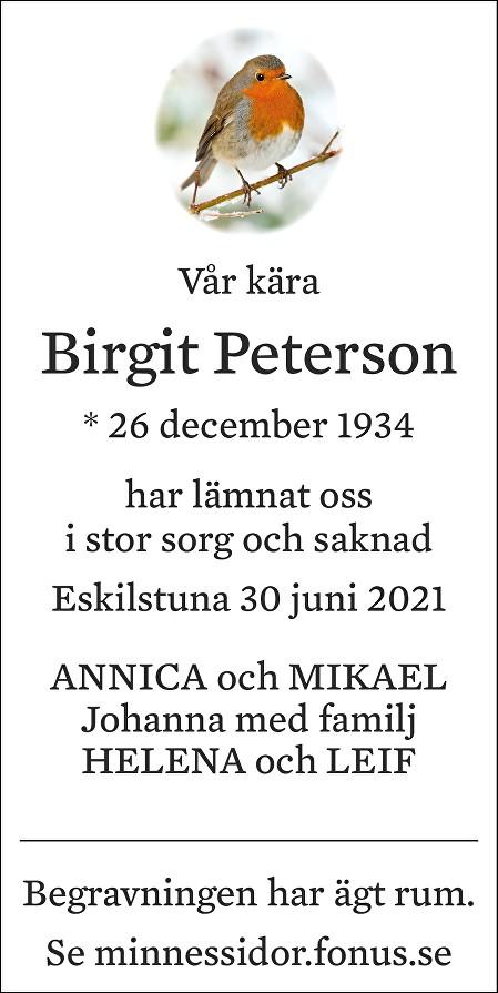Birgit Peterson Death notice