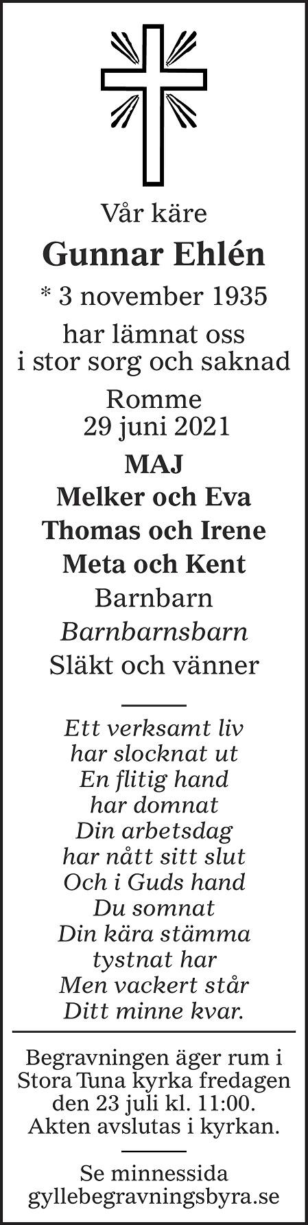 Gunnar Ehlén Death notice