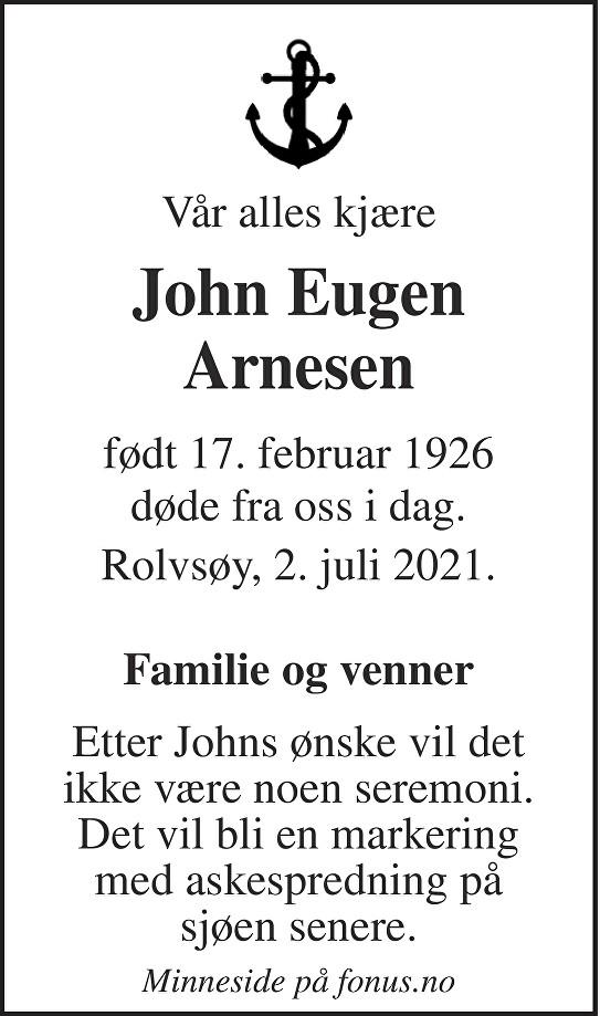 John Eugen Arnesen Dødsannonse